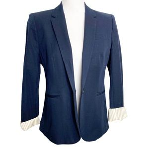 J Crew Navy Boyfriend Stretch Cotton Blazer 10